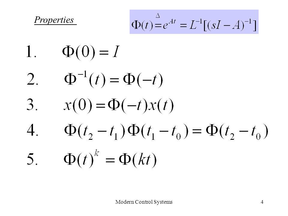 Modern Control Systems5 Non-homogeneous solution Convolution Homogeneous