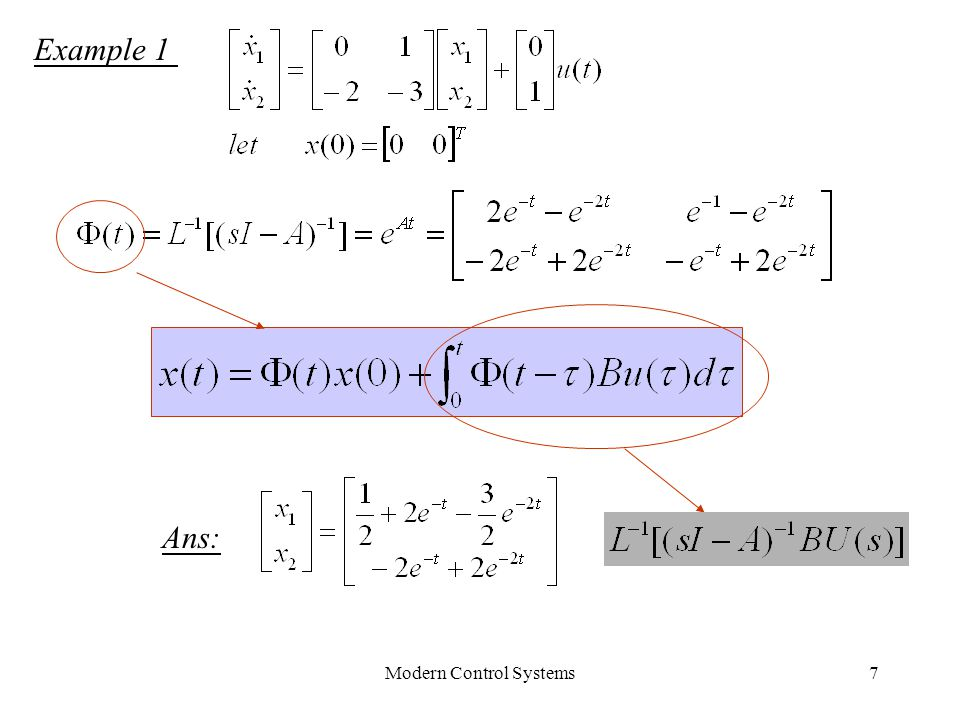 Modern Control Systems7 Example 1 Ans: