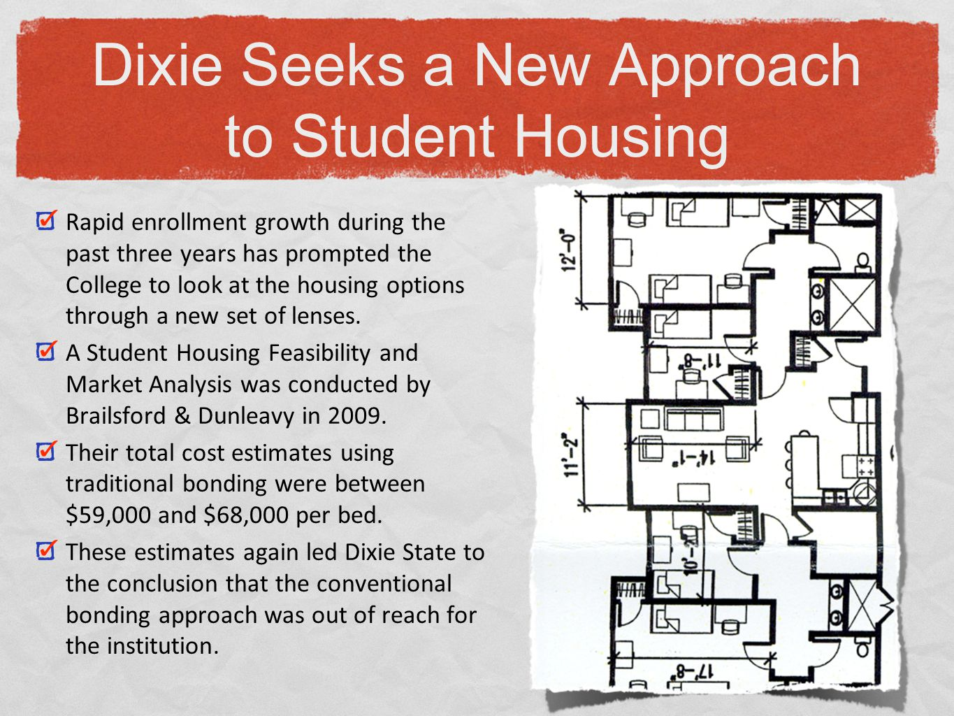 Dixie State studied the state and national private student housing options.