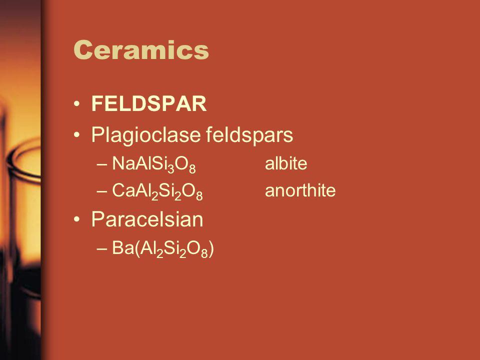 Ceramics FELDSPAR Plagioclase feldspars –NaAlSi 3 O 8 albite –CaAl 2 Si 2 O 8 anorthite Paracelsian –Ba(Al 2 Si 2 O 8 )