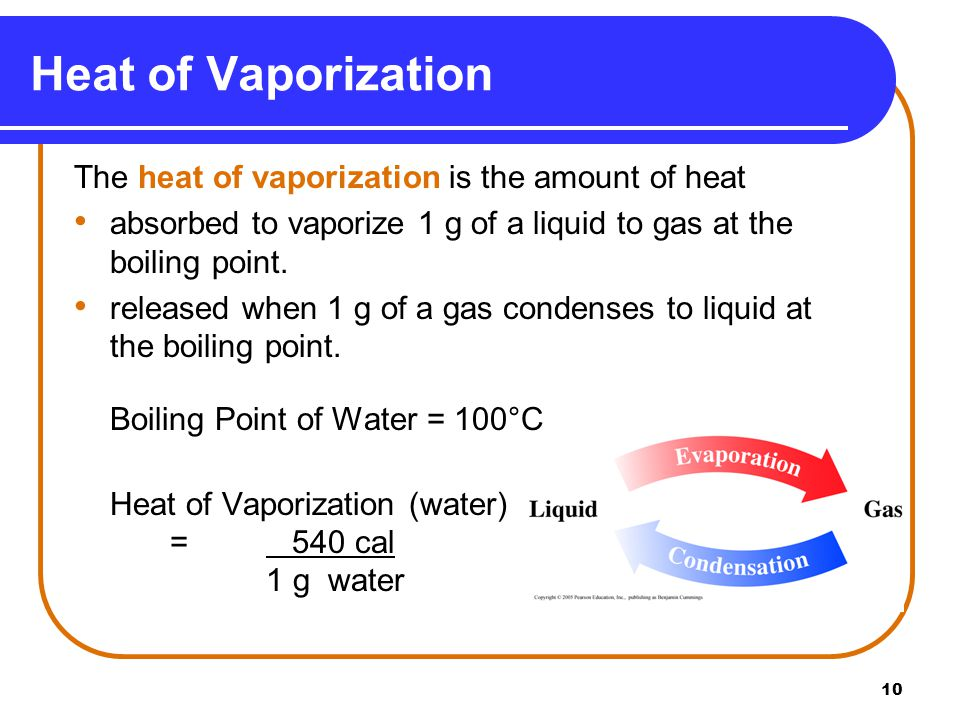 10 Heat of Vaporization The heat of vaporization is the amount of heat absorbed to vaporize 1 g of a liquid to gas at the boiling point.