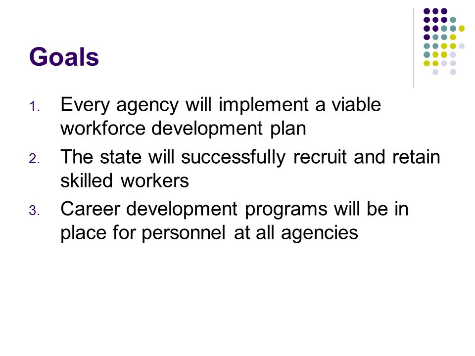Goals 1. Every agency will implement a viable workforce development plan 2.
