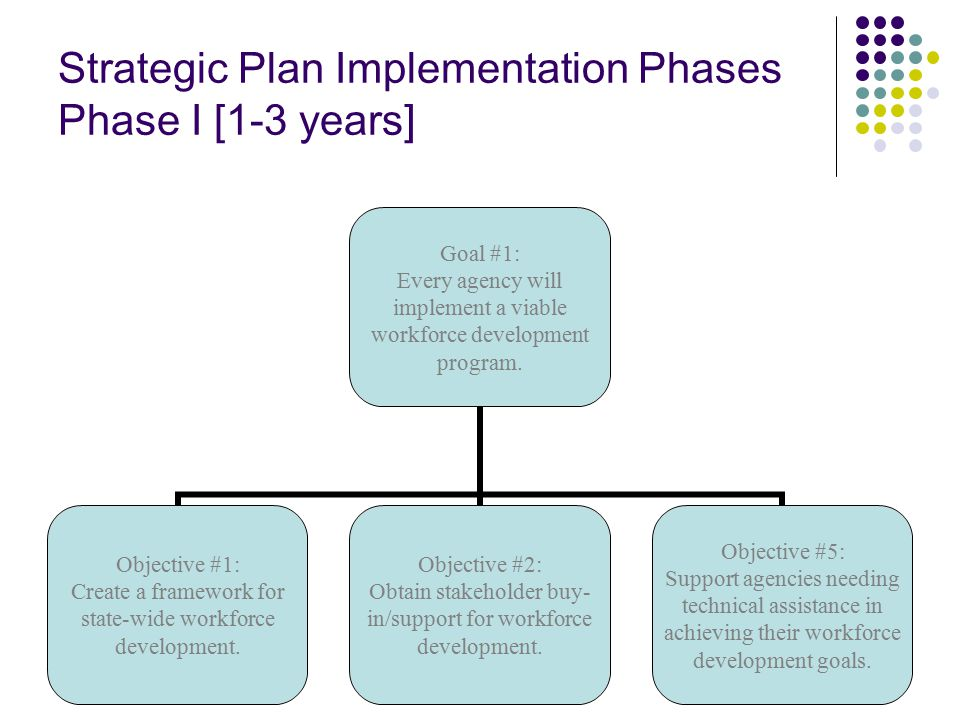 Strategic Plan Implementation Phases Phase I [1-3 years] Goal #1: Every agency will implement a viable workforce development program.