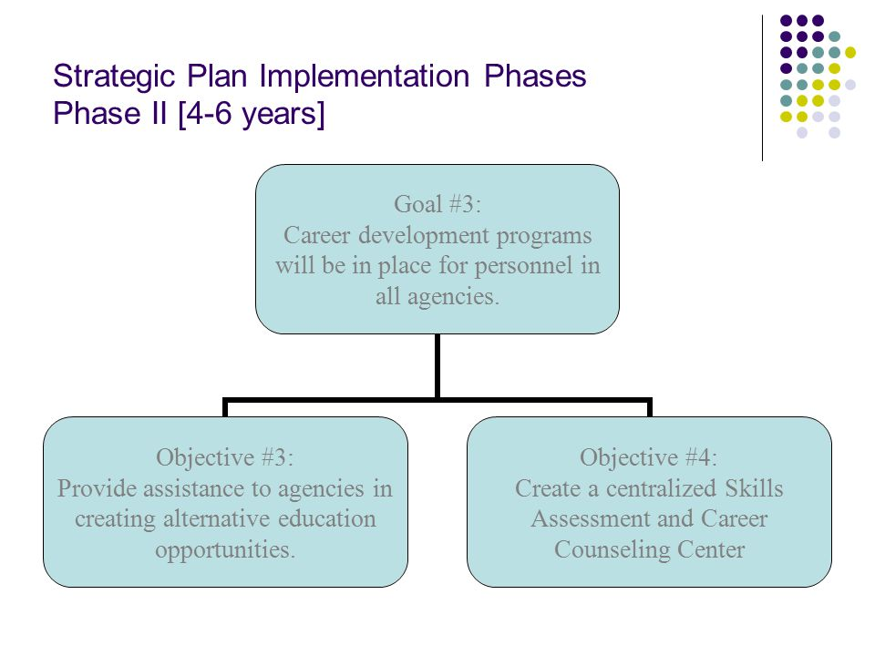 Strategic Plan Implementation Phases Phase II [4-6 years] Goal #3: Career development programs will be in place for personnel in all agencies.