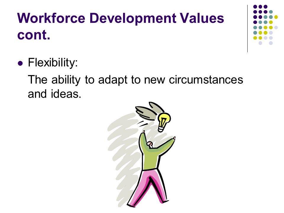 Workforce Development Values cont.Diversity: A blend of demographics and talents.