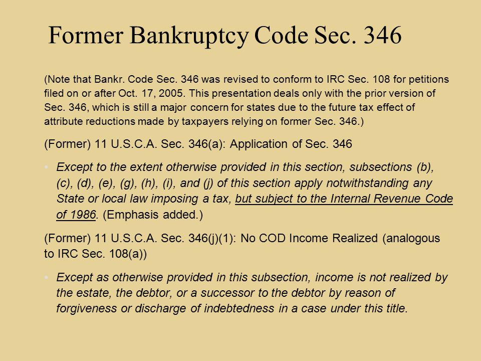 Some Significant Differences Under Old 346(j) Compared to IRC Sec.