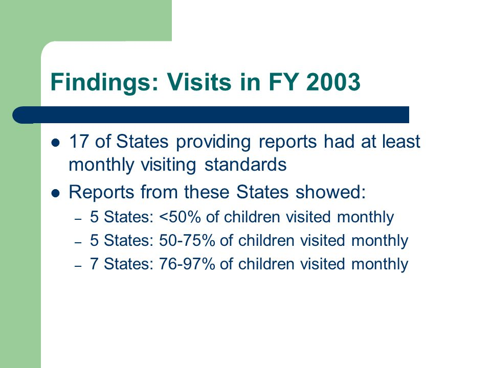 Findings: Visits in FY 2003 17 of States providing reports had at least monthly visiting standards Reports from these States showed: – 5 States: <50%