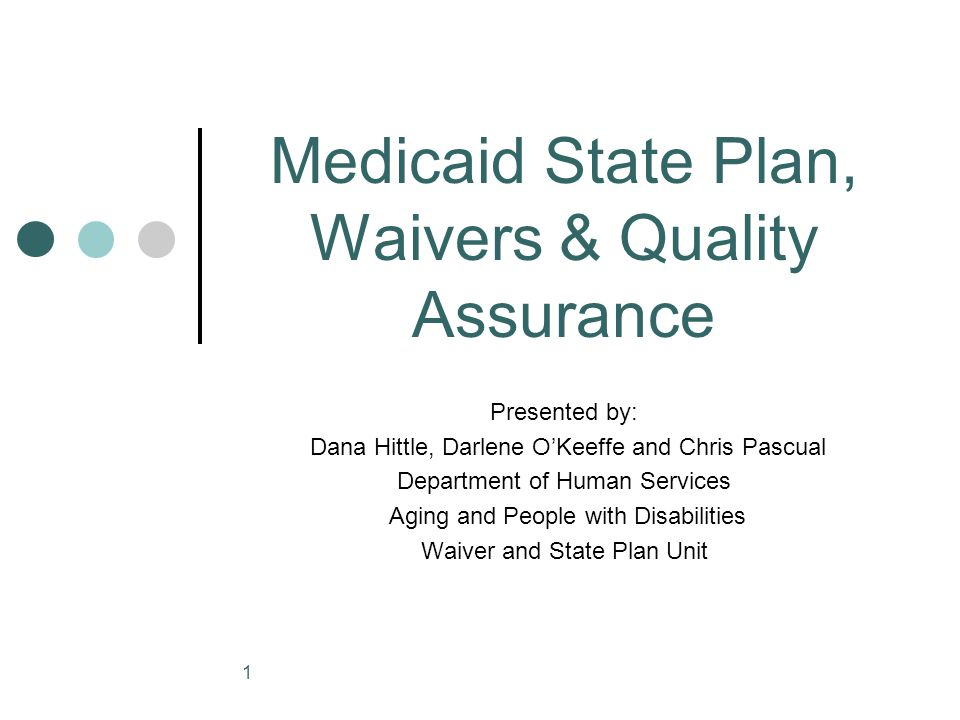 1 Medicaid State Plan, Waivers & Quality Assurance Presented by: Dana Hittle, Darlene O'Keeffe and Chris Pascual Department of Human Services Aging an