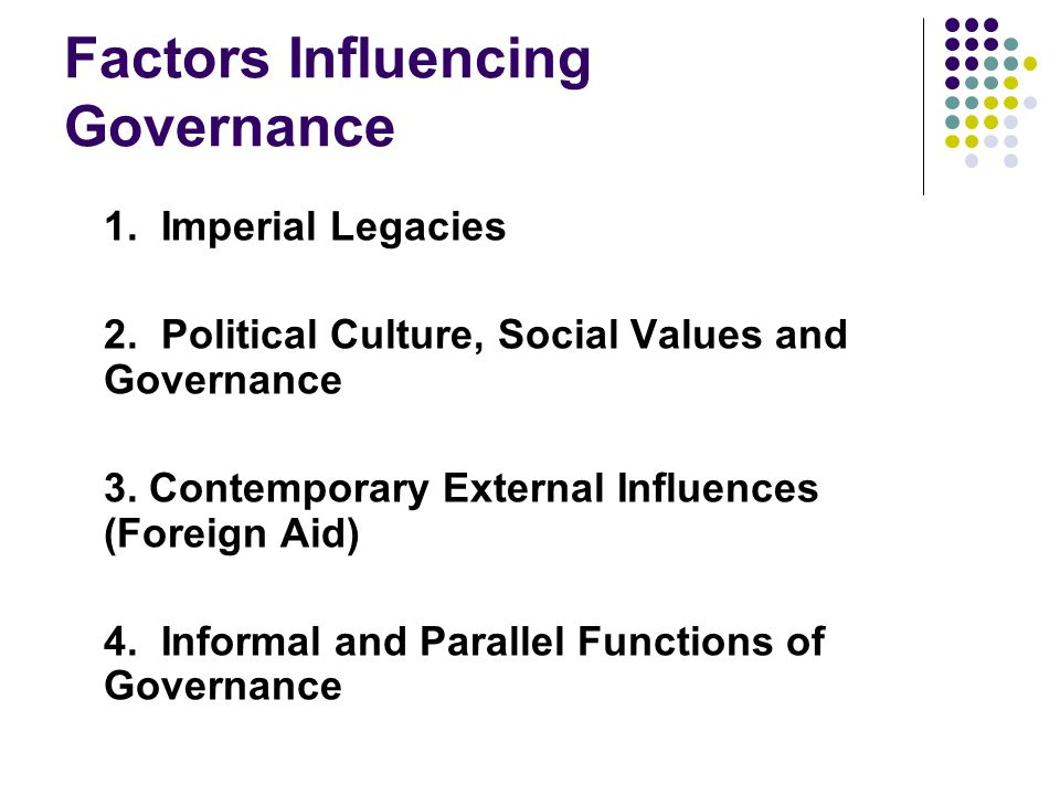 Factors Influencing Governance 1. Imperial Legacies 2.