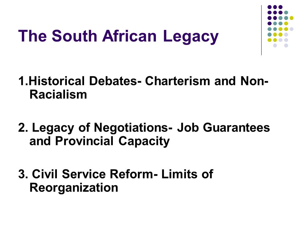 The South African Legacy 1.Historical Debates- Charterism and Non- Racialism 2.