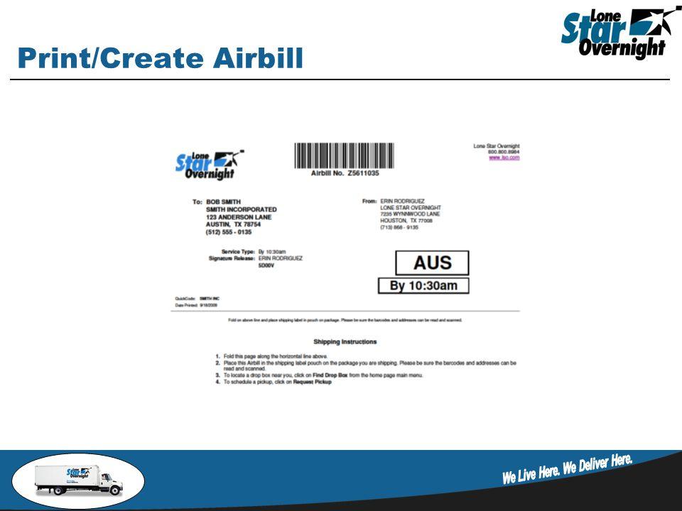 Print/Create Airbill