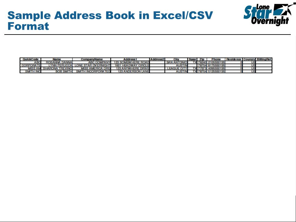 Sample Address Book in Excel/CSV Format