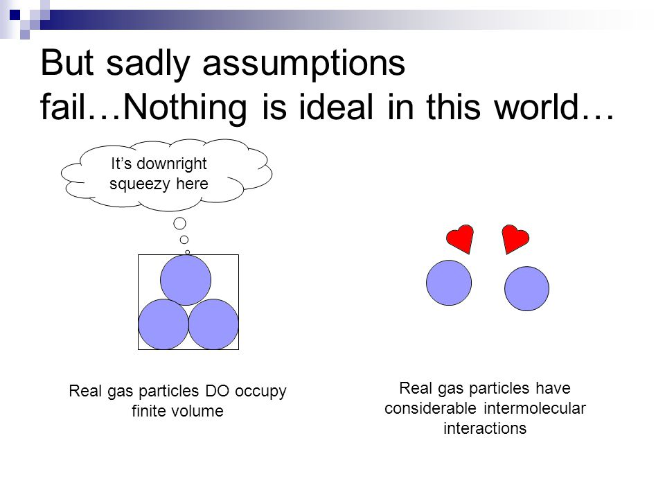 But sadly assumptions fail…Nothing is ideal in this world… Real gas particles have considerable intermolecular interactions Real gas particles DO occu