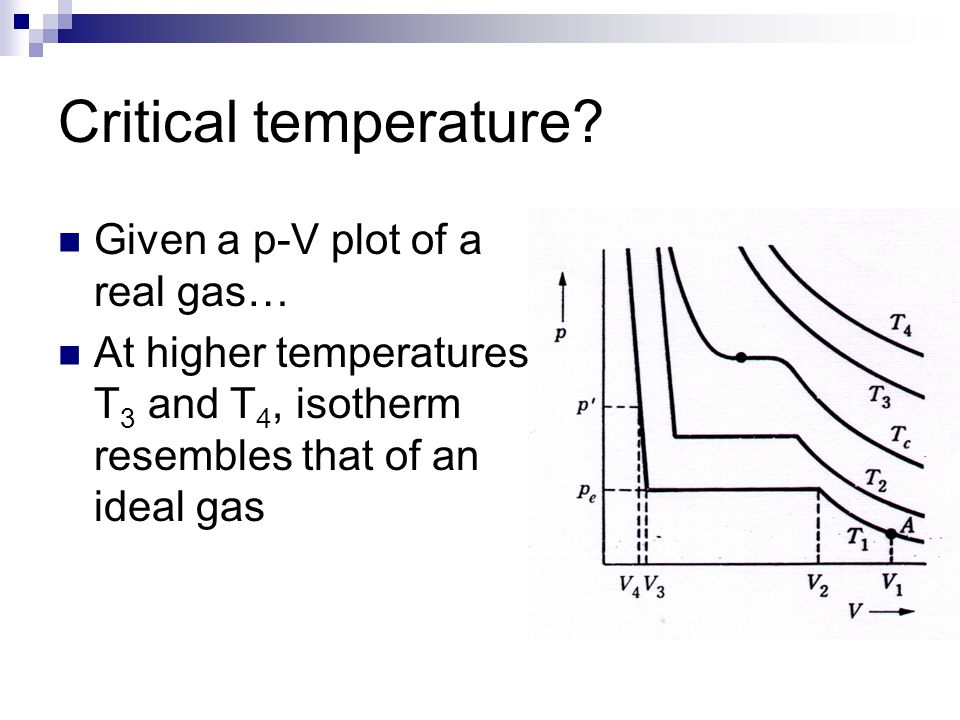 Critical temperature? Given a p-V plot of a real gas… At higher temperatures T 3 and T 4, isotherm resembles that of an ideal gas