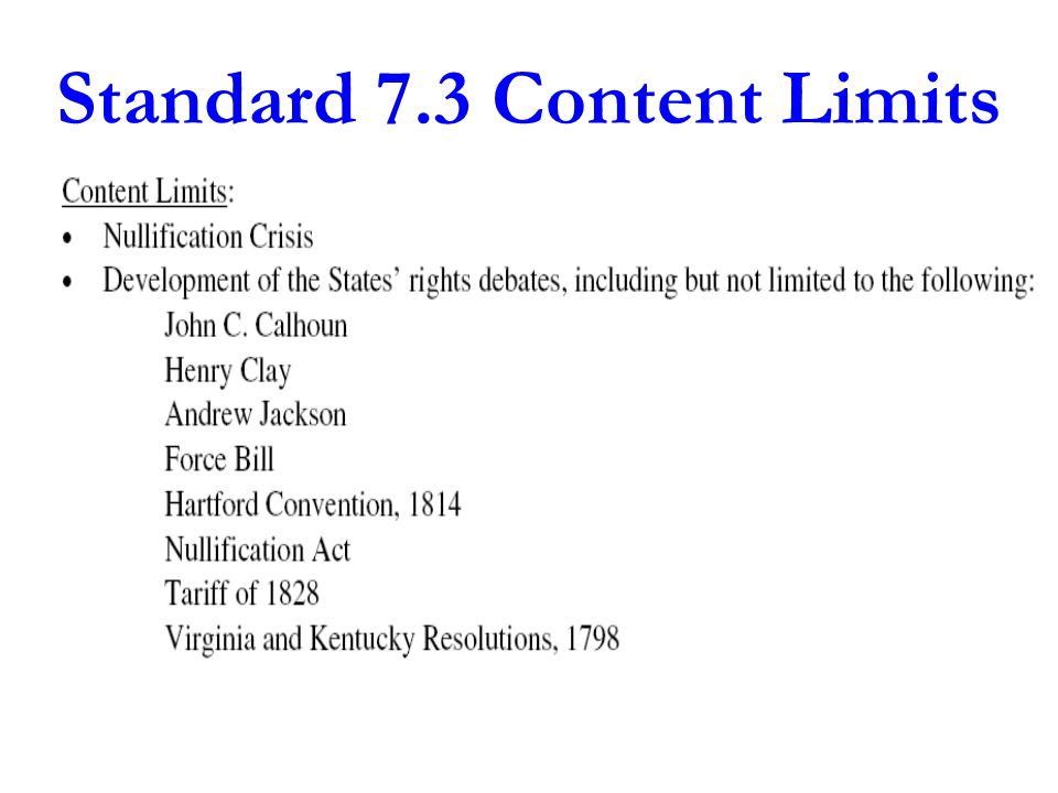 Standard 7.3 Content Limits