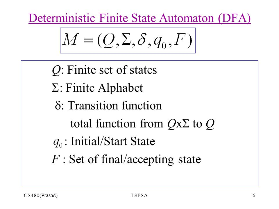 CS480(Prasad)L9FSA6 Q: Finite set of states  Finite Alphabet  : Transition function total function from Qx  to Q : Initial/Start State F : Set of