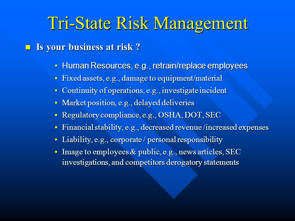 Tri-State Risk Management Management's Safety Misconceptions Management's Safety Misconceptions Internal conditionsInternal conditions –It never happened before.
