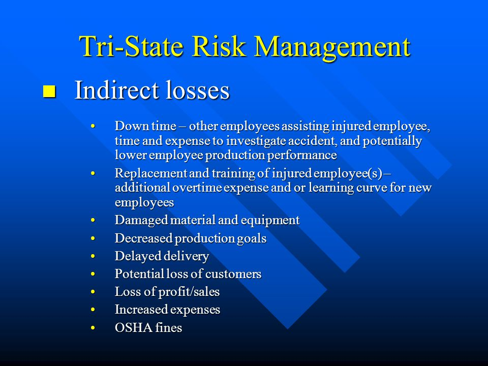 Tri-State Risk Management Indirect losses Indirect losses Down time – other employees assisting injured employee, time and expense to investigate accident, and potentially lower employee production performanceDown time – other employees assisting injured employee, time and expense to investigate accident, and potentially lower employee production performance Replacement and training of injured employee(s) – additional overtime expense and or learning curve for new employeesReplacement and training of injured employee(s) – additional overtime expense and or learning curve for new employees Damaged material and equipmentDamaged material and equipment Decreased production goalsDecreased production goals Delayed deliveryDelayed delivery Potential loss of customersPotential loss of customers Loss of profit/salesLoss of profit/sales Increased expensesIncreased expenses OSHA finesOSHA fines