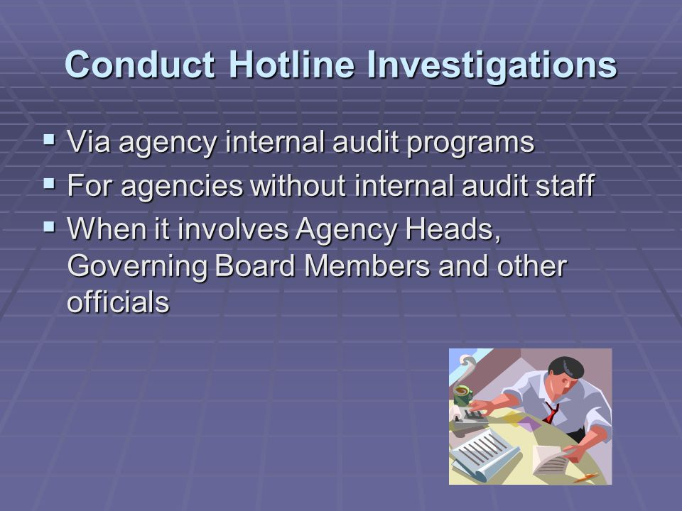 Provide Oversight and Direction to State Agencies  Some State agencies do not have the staff or resources to review and develop internal controls  DSIA assists agencies in conducting internal control reviews for a variety of processes  DSIA makes recommendations to assist the agency