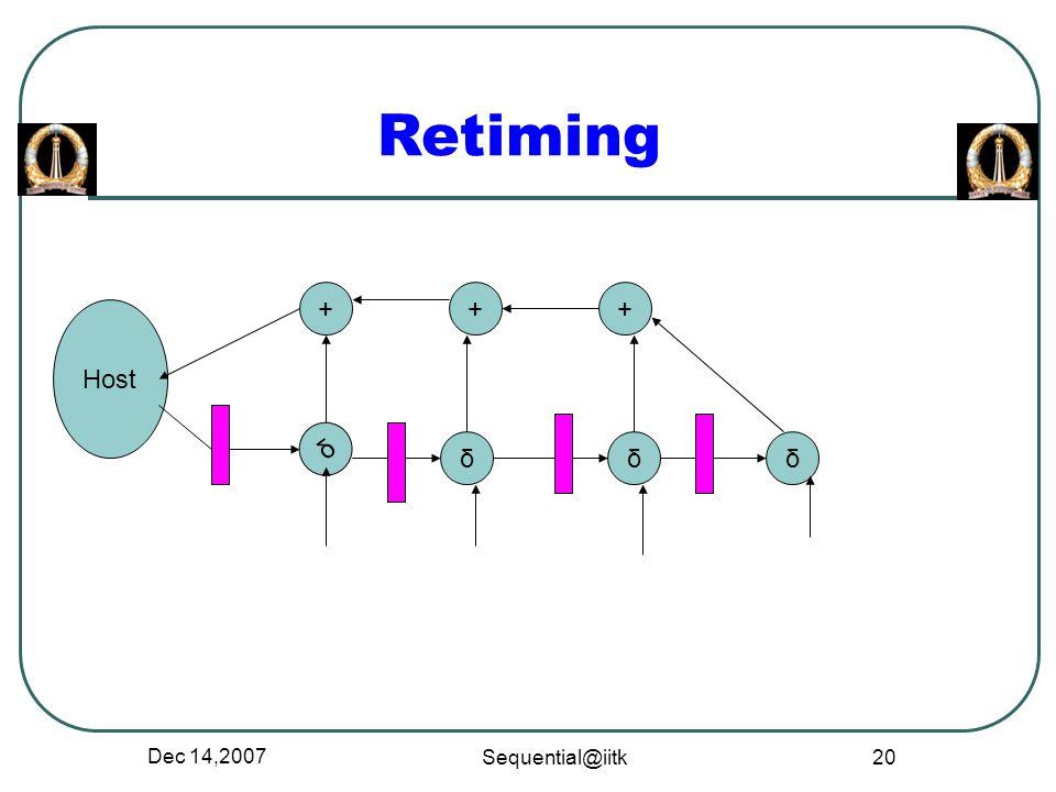 Dec 14,2007 Sequential@iitk 20 Retiming + Host δ + δ + δδ
