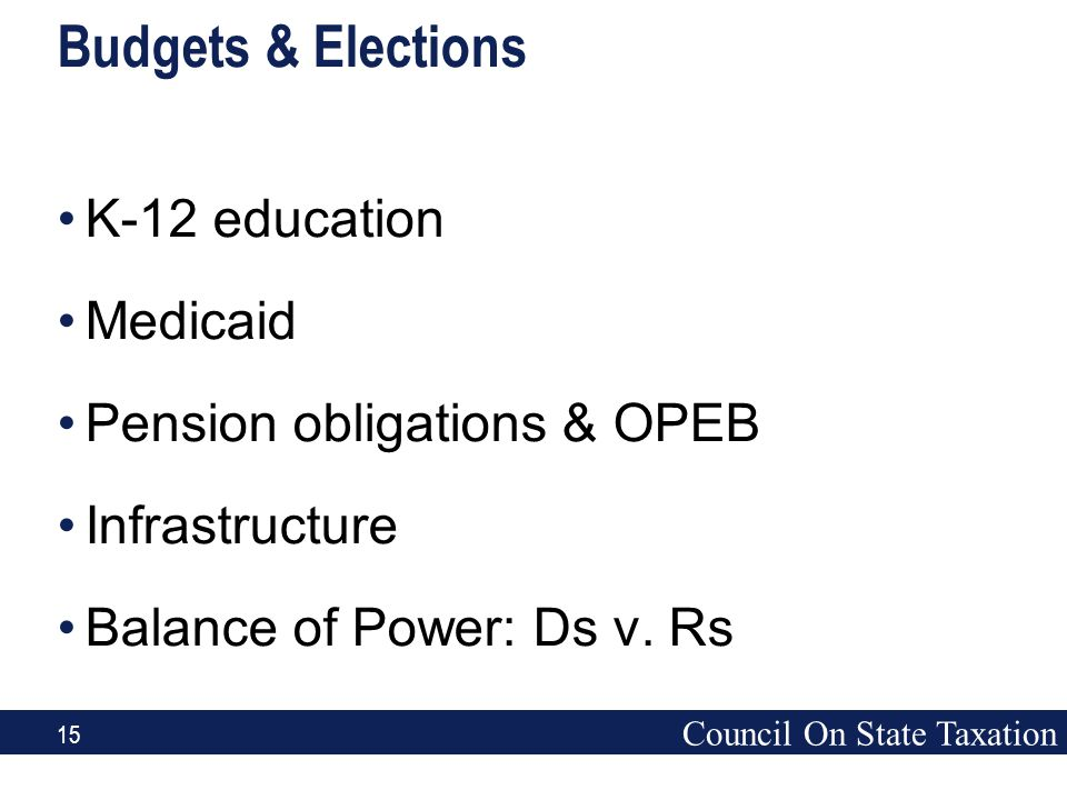 Council On State Taxation 15 Budgets & Elections K-12 education Medicaid Pension obligations & OPEB Infrastructure Balance of Power: Ds v. Rs