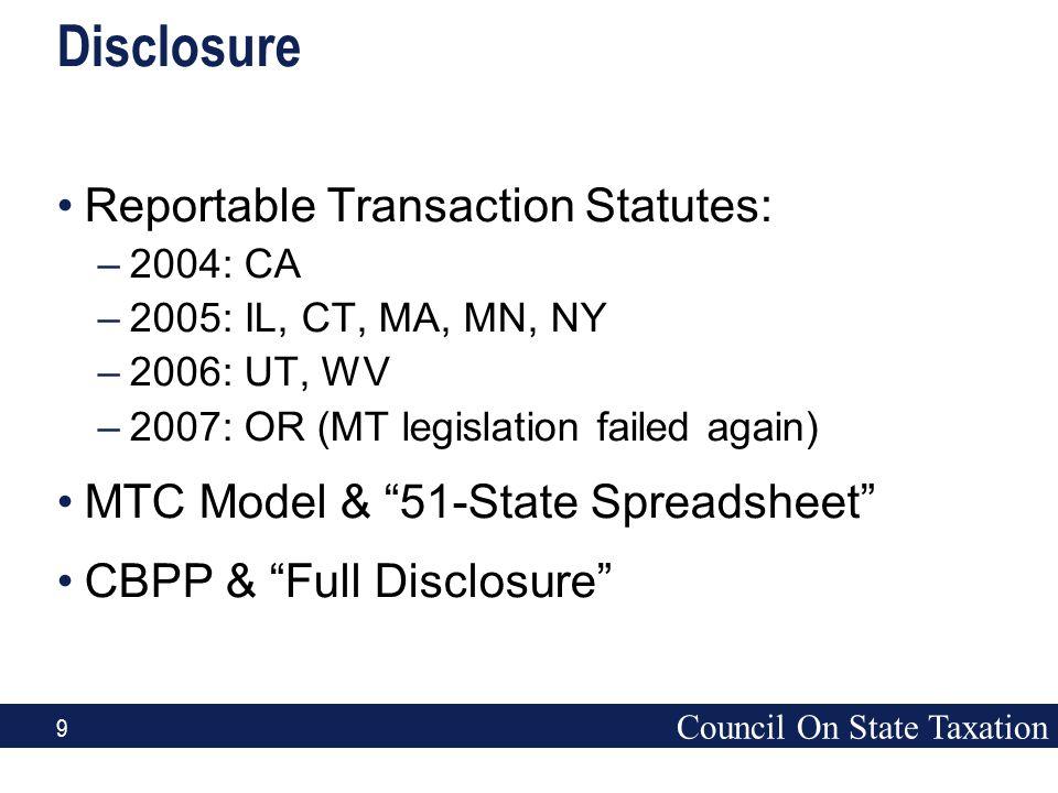 Council On State Taxation 9 Disclosure Reportable Transaction Statutes: –2004: CA –2005: IL, CT, MA, MN, NY –2006: UT, WV –2007: OR (MT legislation fa