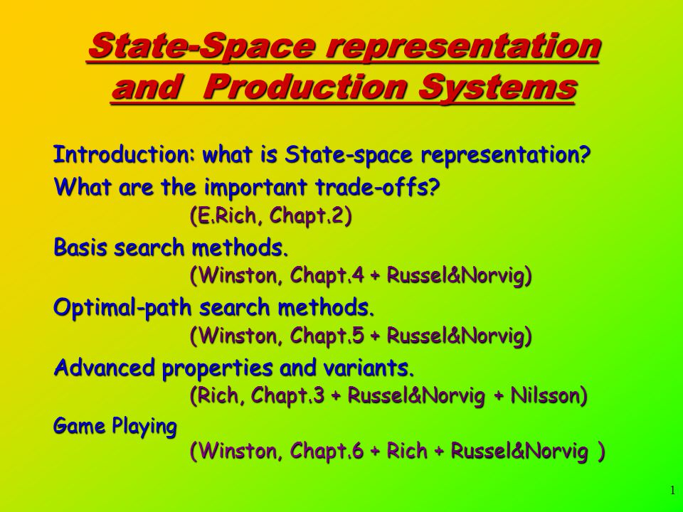 1 State-Space representation and Production Systems Introduction: what is State-space representation.