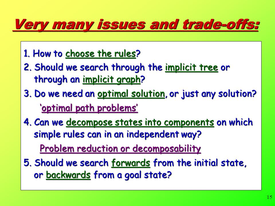 15 Very many issues and trade-offs: 1.How to choose the rules.