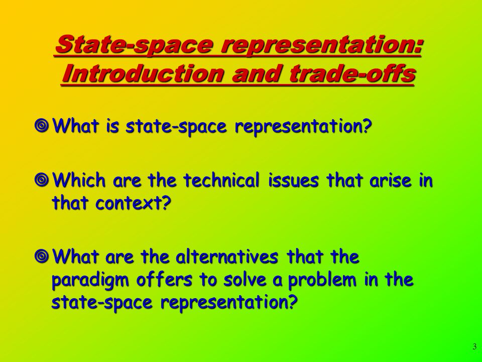 3 State-space representation: Introduction and trade-offs  What is state-space representation.