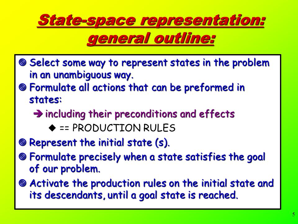 5 State-space representation: general outline:  Select some way to represent states in the problem in an unambiguous way.
