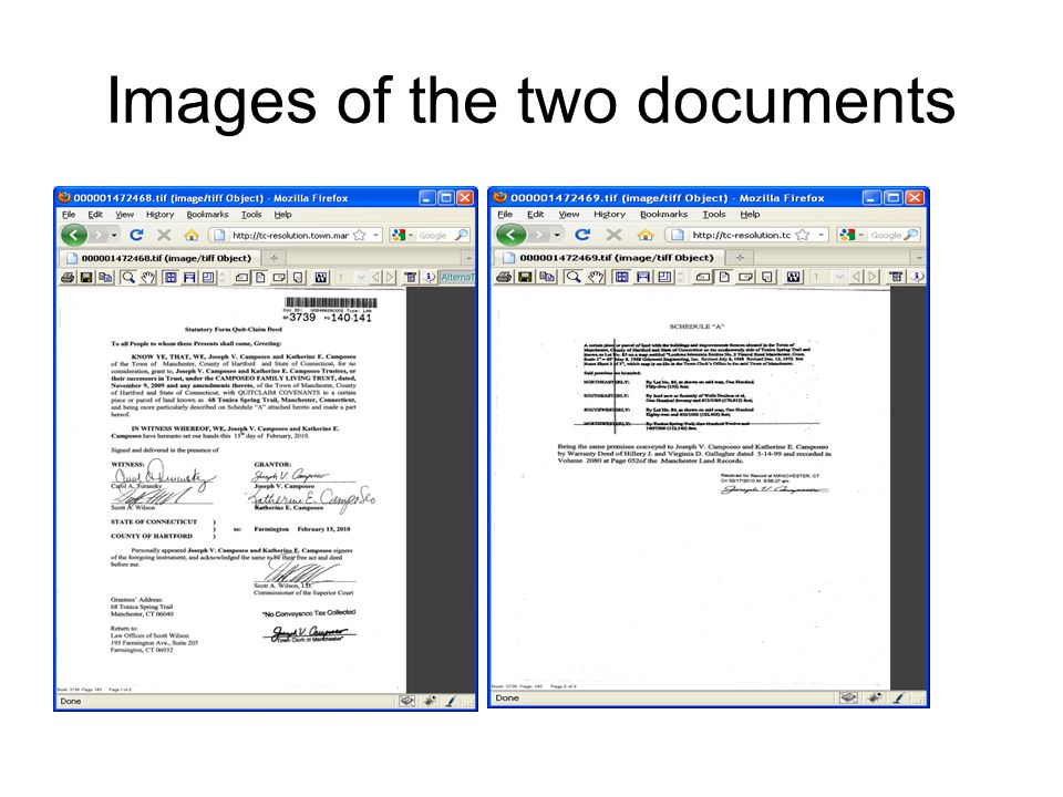 Images of the two documents