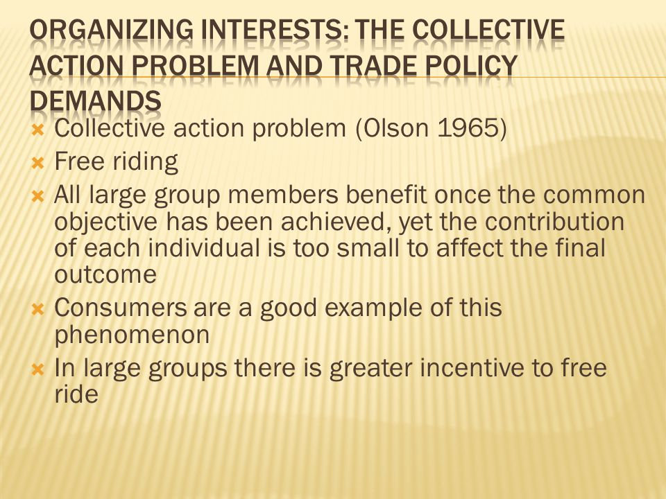  Collective action problem (Olson 1965)  Free riding  All large group members benefit once the common objective has been achieved, yet the contribu