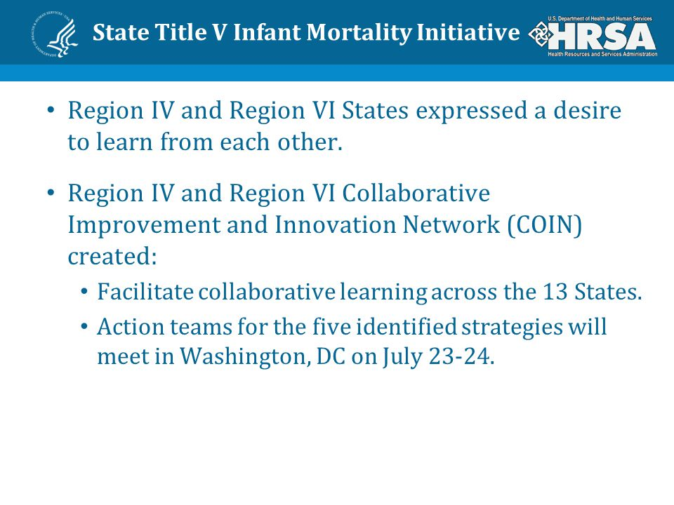 State Title V Infant Mortality Initiative Region IV and Region VI States expressed a desire to learn from each other.