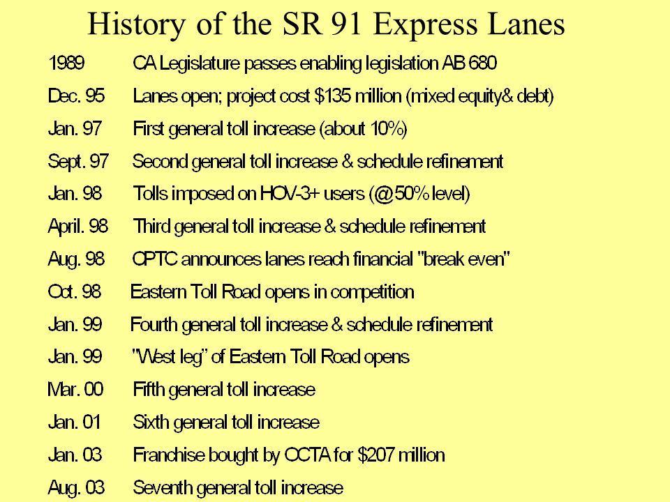 History of the SR 91 Express Lanes