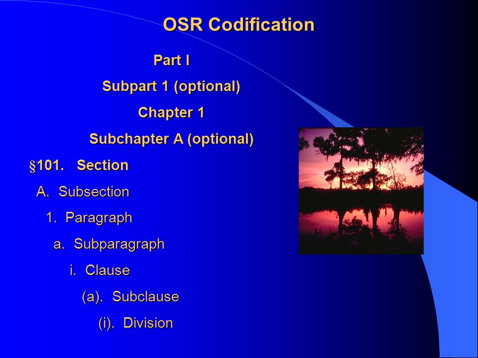 OSR Codification Part I Subpart 1 (optional) Chapter 1 Subchapter A (optional) §101.Section A.