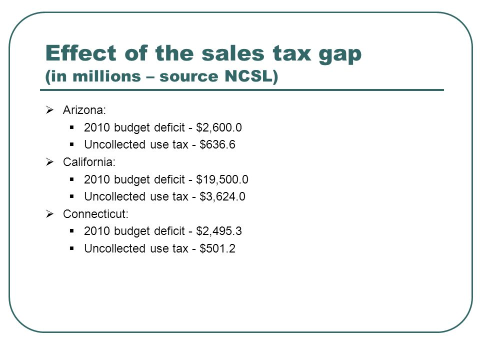 Effect of the sales tax gap (in millions – source NCSL)  Arizona:  2010 budget deficit - $2,600.0  Uncollected use tax - $636.6  California:  201