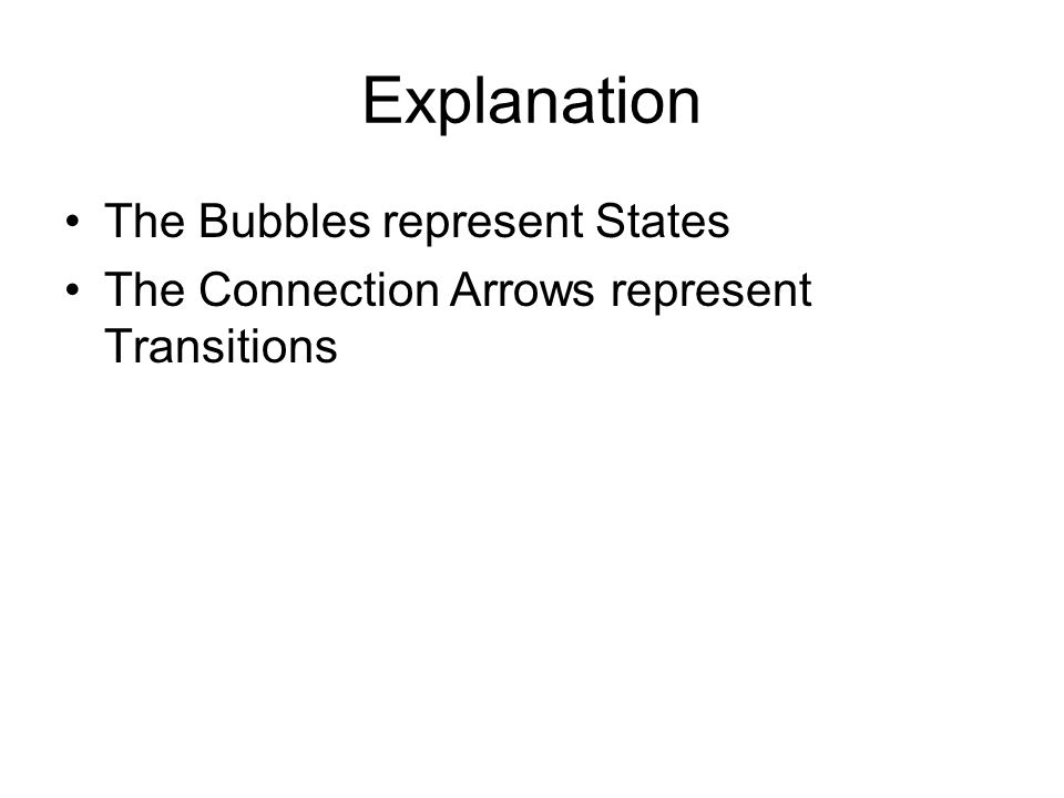 Explanation The Bubbles represent States The Connection Arrows represent Transitions