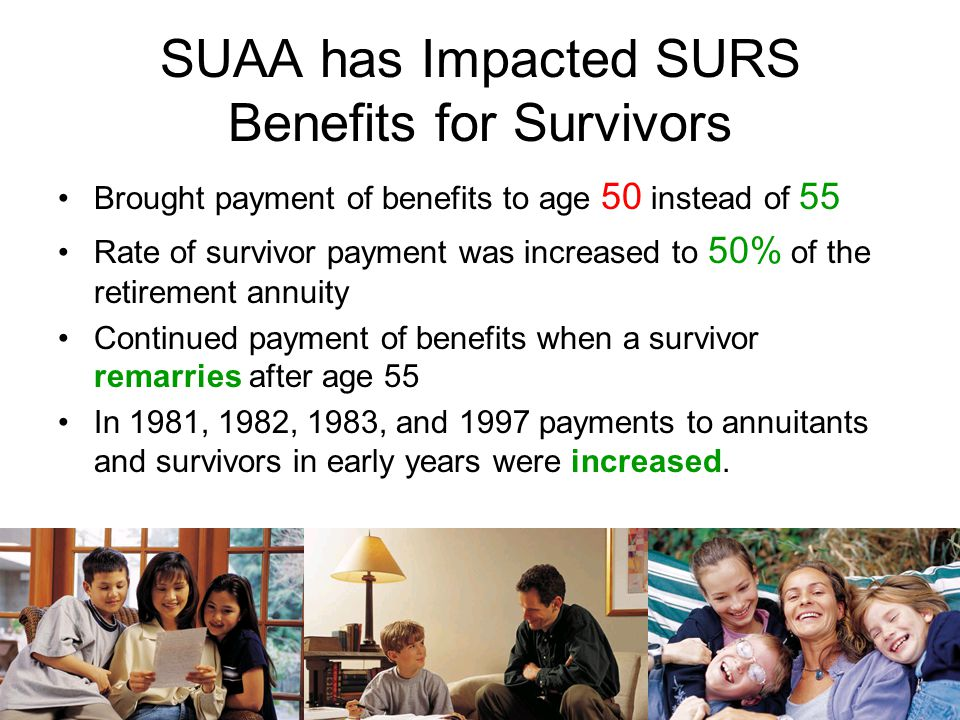 SUAA has Impacted SURS Benefits for Annuitants Helped secure annual increases in annuities from 0% to 3% compounded annually for both annuitants and s