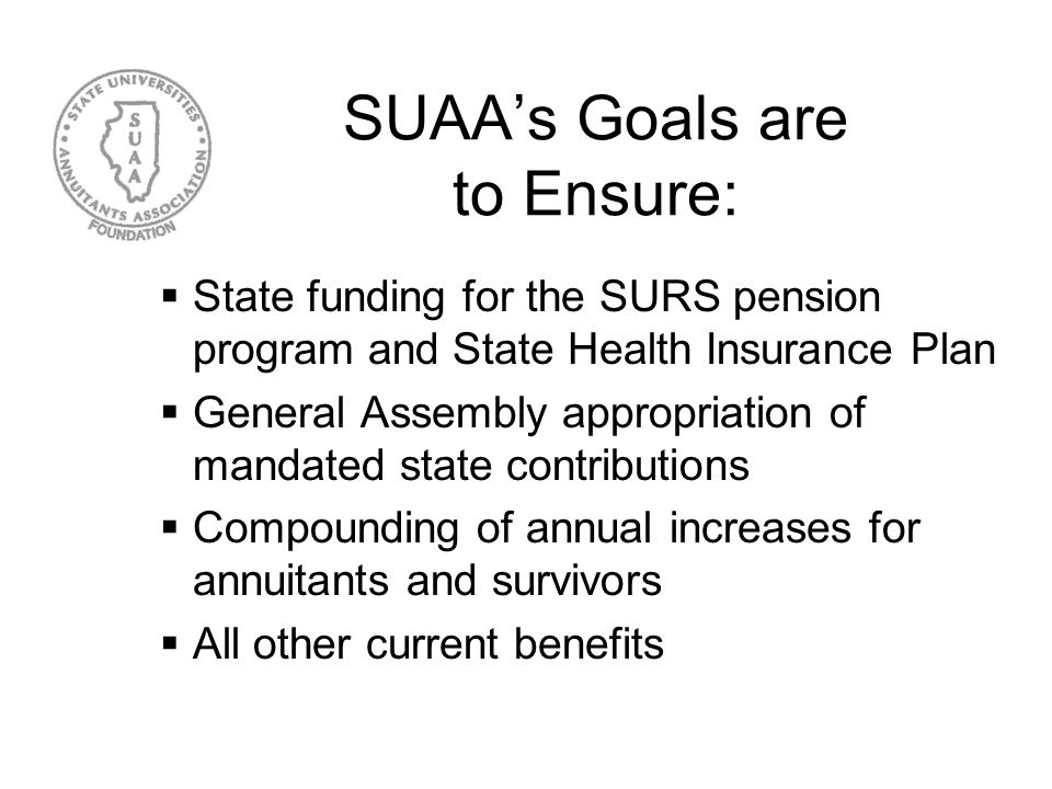 How SUAA was formed Discussions in the late 1960s led to a coalition of persons who supported SURS in securing legislation in 1970 that provided the f