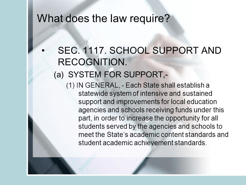 What does the law require. SEC. 1117. SCHOOL SUPPORT AND RECOGNITION.
