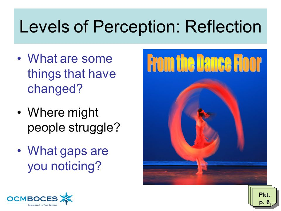 Levels of Perception: Reflection As you look from the balcony: –What looks the same –What feels right for your district –What are good things for lear