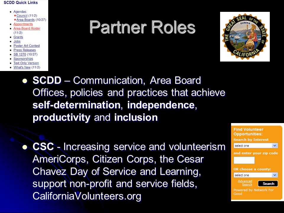 Partner Roles SCDD – Communication, Area Board Offices, policies and practices that achieve self-determination, independence, productivity and inclusi