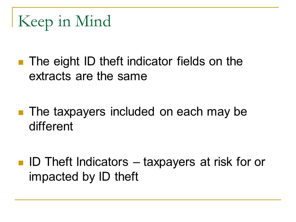 Identity Theft Protection Indicator (ITPI) Extract Basics What is it.