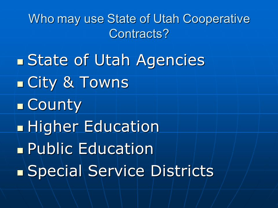 Who may use State of Utah Cooperative Contracts.