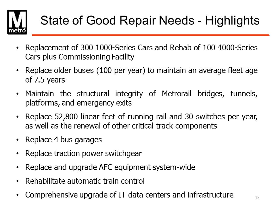 State of Good Repair Needs - Highlights Replacement of 300 1000-Series Cars and Rehab of 100 4000-Series Cars plus Commissioning Facility Replace olde