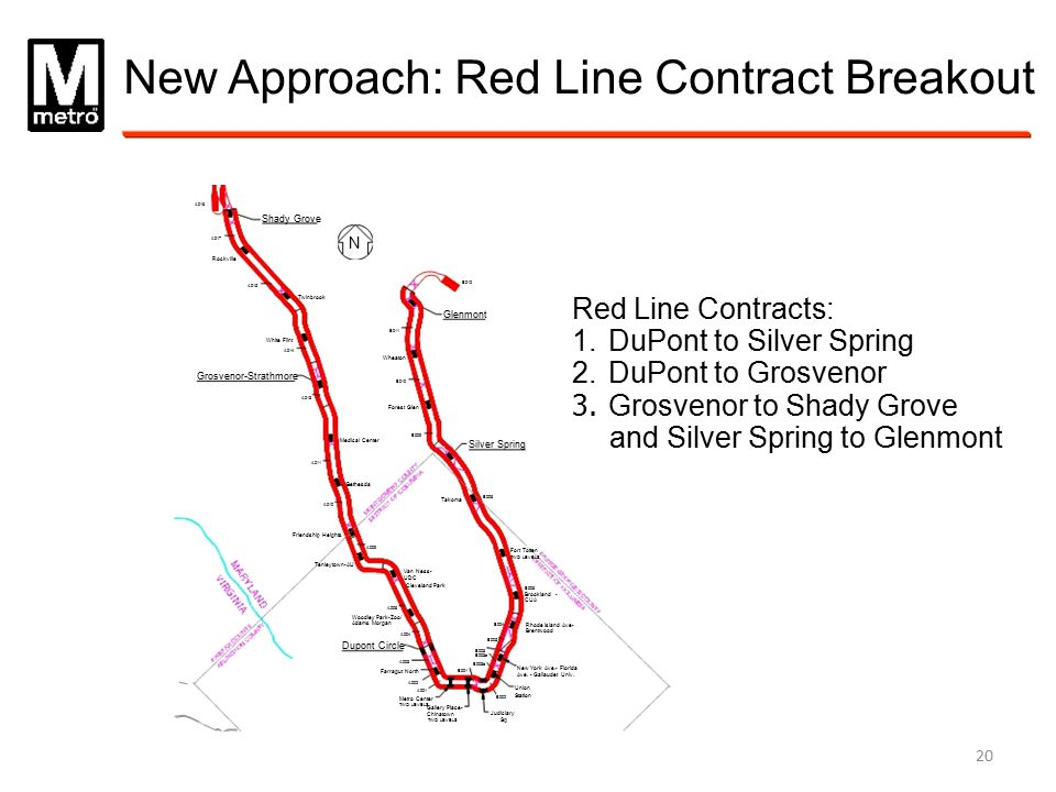 New Approach: Red Line Contract Breakout A016 Shady Grove A017 N Rockville B012 A015 Twinbrook Glenmont B011 White Flint A014 Wheaton Grosvenor-Strath