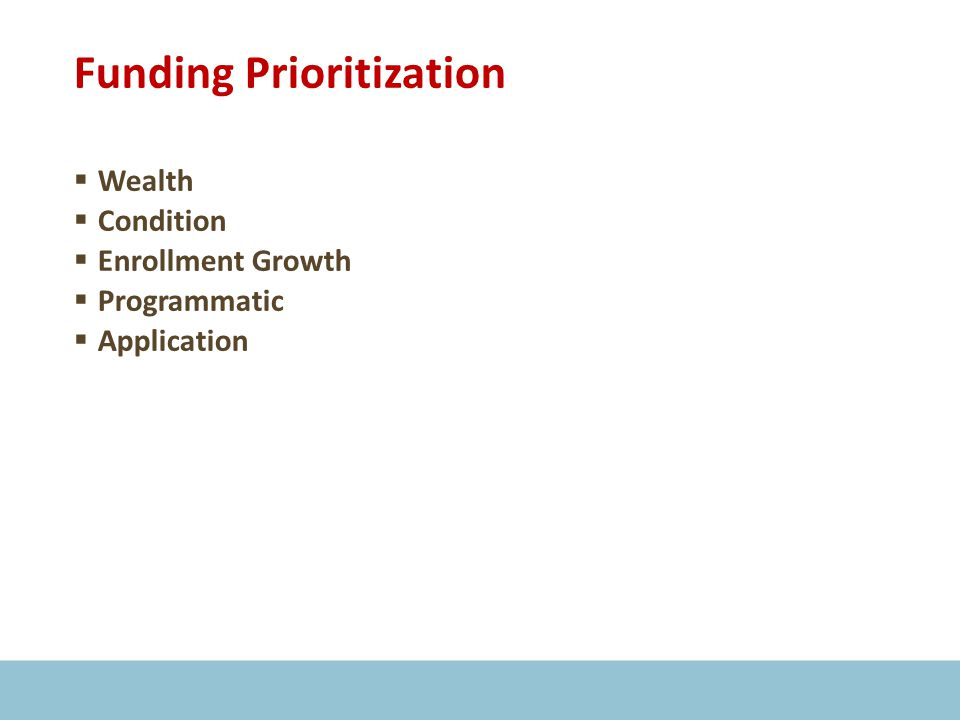 Funding Prioritization  Wealth  Condition  Enrollment Growth  Programmatic  Application