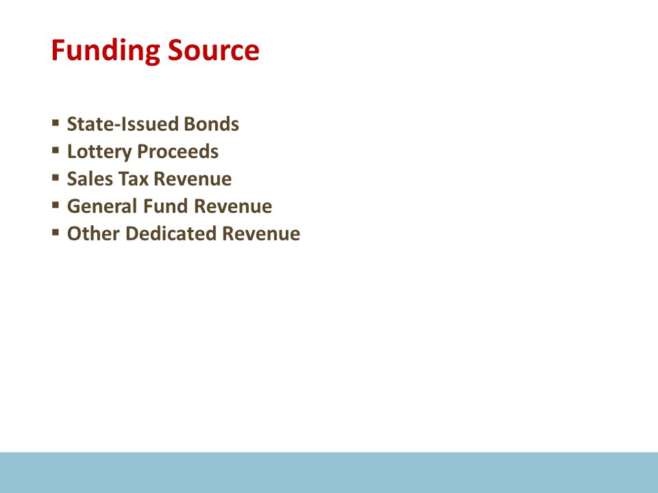 Funding Source  State-Issued Bonds  Lottery Proceeds  Sales Tax Revenue  General Fund Revenue  Other Dedicated Revenue