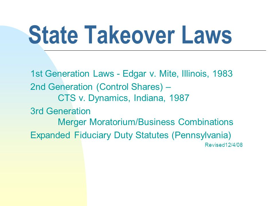 First Generation Laws n Edgar v.