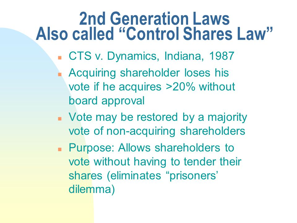 """2nd Generation Laws Also called """"Control Shares Law"""" n CTS v. Dynamics, Indiana, 1987 n Acquiring shareholder loses his vote if he acquires >20% witho"""